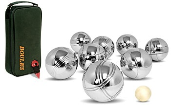 Hire buoles set: Quality Boules Set 8 balls, one white and bag. Hire Boules Set from candlehire.co.uk